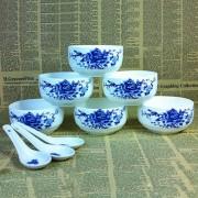 12头青花瓷碗餐具套装6碗6勺